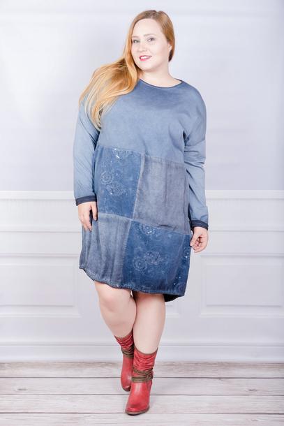 Tuniko-sukienka włoska sznurek niebieska