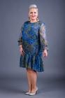 Sukienka szyfonowa niebieska z falbanką