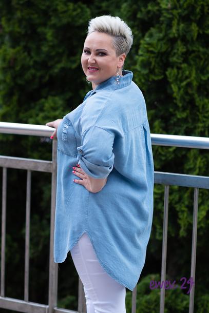 Koszula jeans rozpinana jasny niebieski