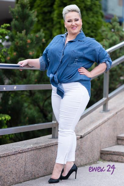 Spodnie 7/8 strecz z suwaczkiem białe