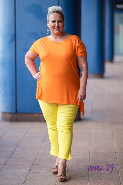 Spodnie 7/8 strecz z suwaczkami żółte
