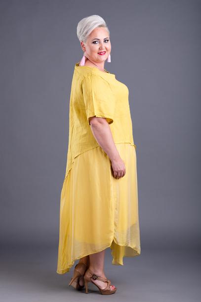 Lniano-jedwabna sukienka żółta