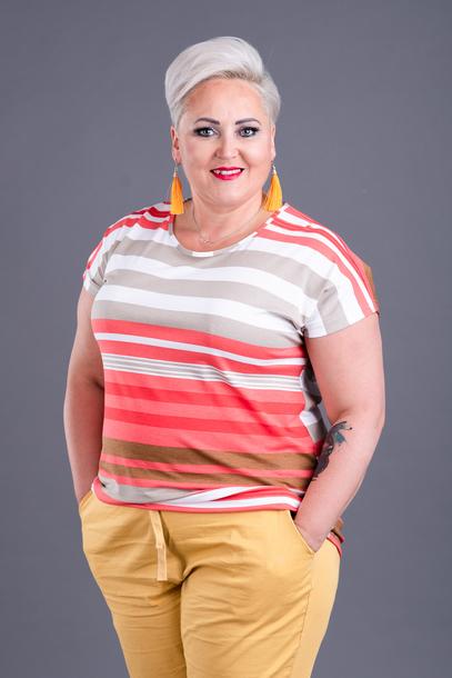 Bluzka w paski pomarańczowa