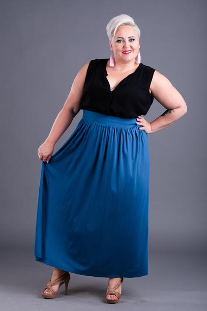 Spódnica długa z wiskozy jeans