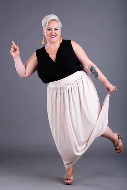 Spódnica długa z wiskozy kremowa