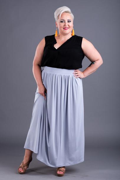 Spódnica długa z wiskozy szara