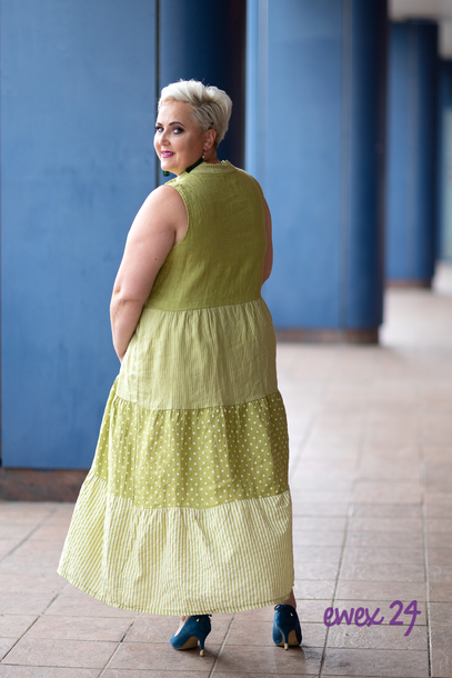 Sukienka len w grochy limonka (1)