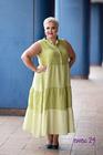 Sukienka len w grochy limonka (3)