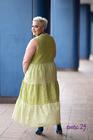 Sukienka len w grochy limonka