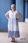 Sukienka len w grochy biała