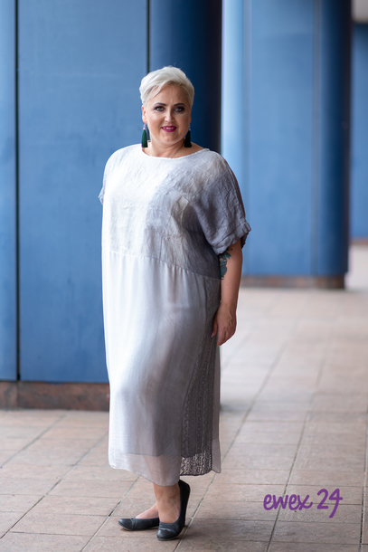 Sukienka cieniowana lniana szara