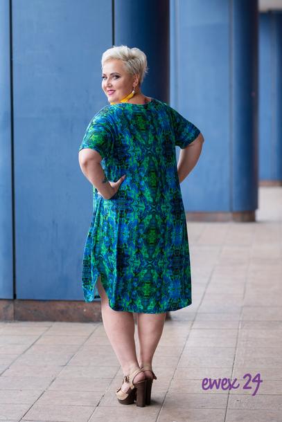 Jajko Sukienka niebiesko-zielona krótki rękaw