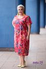 Sukienka midi w kwiaty czerwona