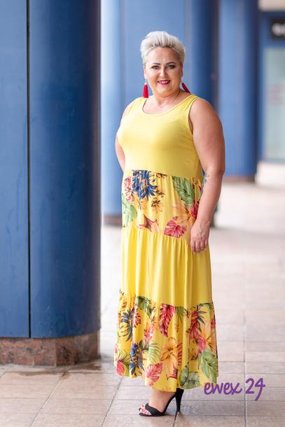 Sukienka długa w kwiaty żółta