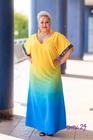 Sukienka długa rękaw cekiny żółta