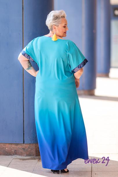 Sukienka długa rękawy cekiny niebieska