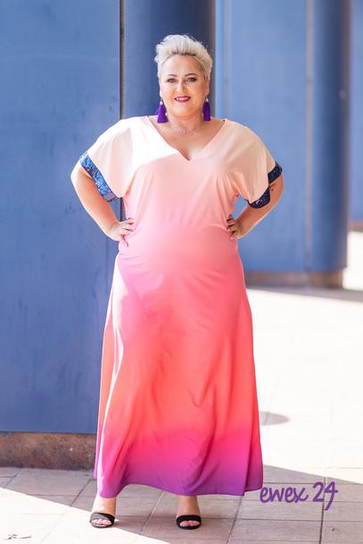 Sukienka długa cekiny różowa