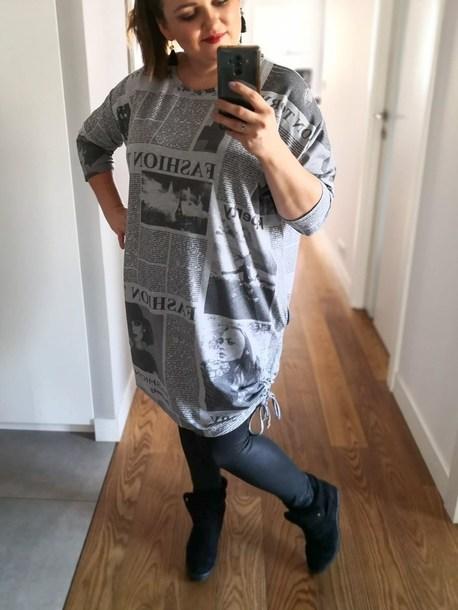 Milo sukienka nadruk szara