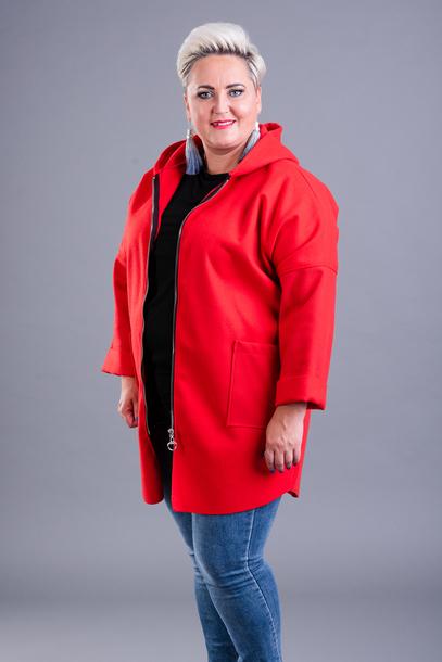 Bluza z kapturem flauszowa czarwona