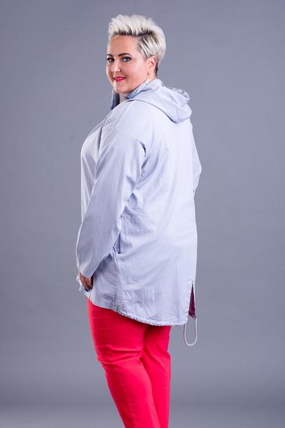Bluza z ozdobną lamówką szara