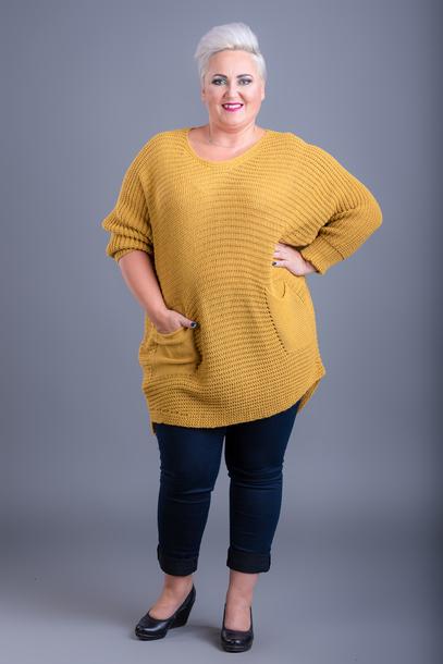 Sweter długi z kieszeniami miodowy