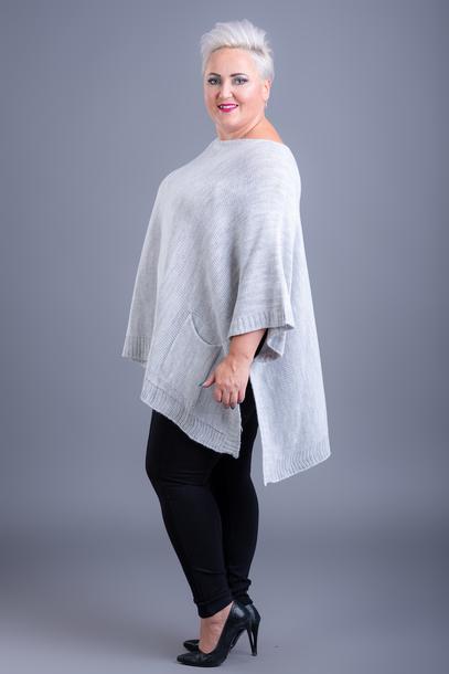 Ponczo sweterkowe z guzikiem szare