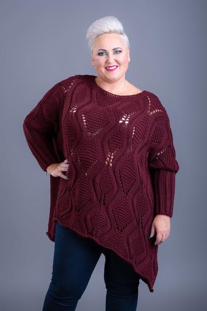 Sweter długi wzorek bordowy
