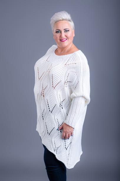 Sweter długi wzorek ecru