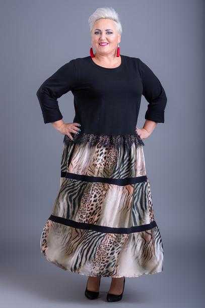 Sukienka dół panterka khaki