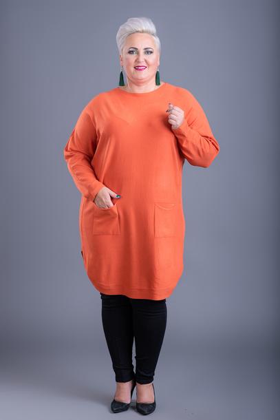 Tunika kaszmirowa pomarańczowa