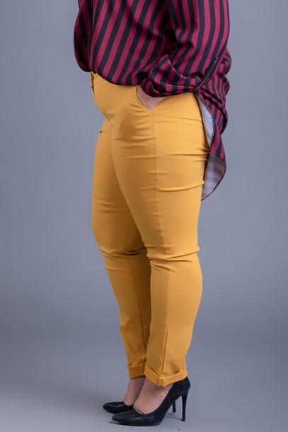 Spodnie gładkie strecz żółte