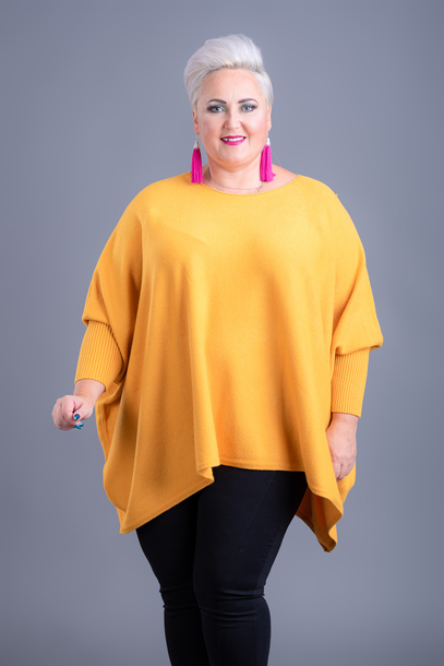 Sweter kaszmirowy ponczo żółty