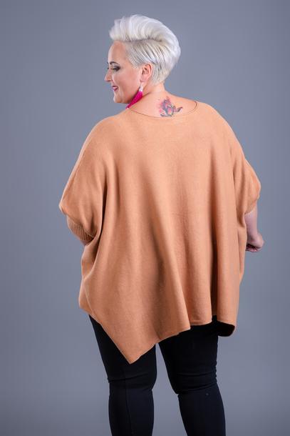 Sweter kaszmirowy ponczo brązowy