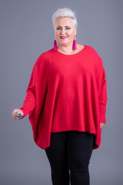 Sweter kaszmirowy ponczo czerwony