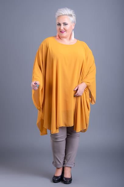 Bluzka szyfonowa ponczo zółta