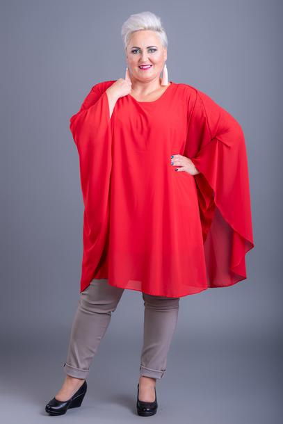 Bluzka szyfonowa ponczo czerwona