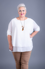 Dwuwarstwowa bluzka z wisiorem biała