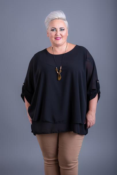 Dwuwarstwowa bluzka z wisiorem czarna