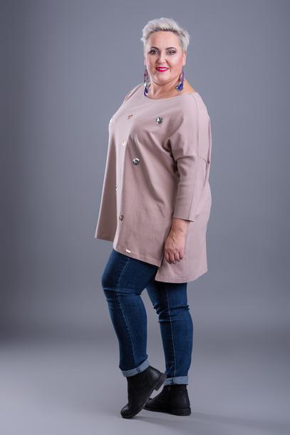 Bluzka kropki cekinowe beżowa
