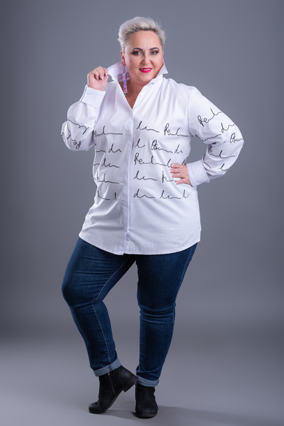 Koszula nadruk biała