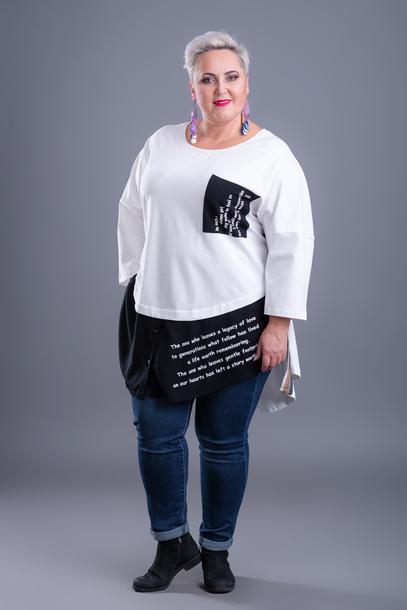 Tunika z ozdobną lamówką biała