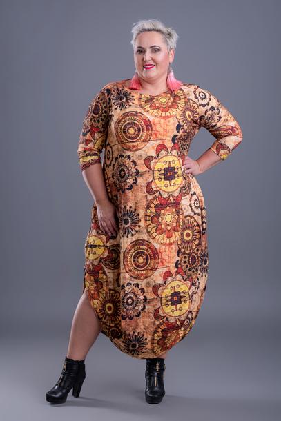Sukienka jajko brązowe koła