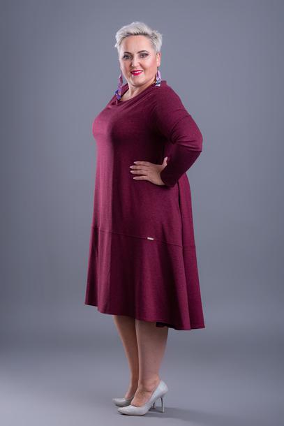 Sukienka trapezowa bordowa