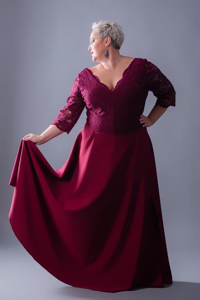 Suknia wieczorowa maxi bordowa