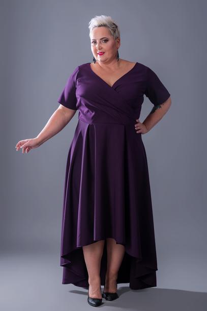 Suknia wieczorowa asymetryczna bakłażan