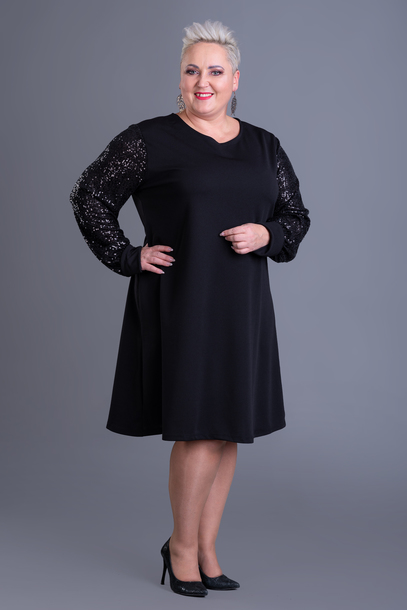 Cekinowe rękawy sukienka czarna