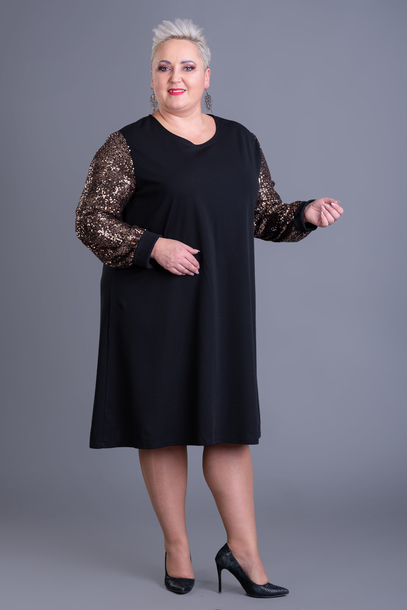 Cekinowe rękawy sukienka brązowa