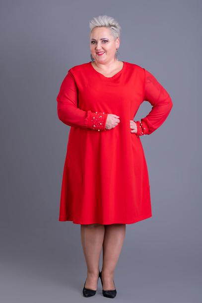 Sukienka z ozdobnymi mankietami czerwona