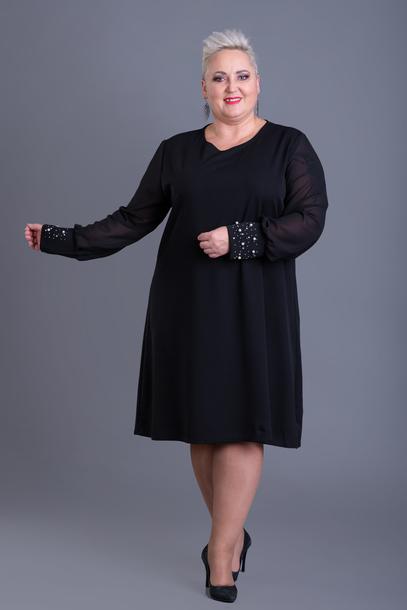 Sukienka z ozdobnymi mankietami czarna