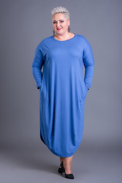 Długa sukienka jajko chabrowa